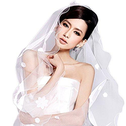 FakeFace - Visillo de boda largo para novia, vestido de encaje con...