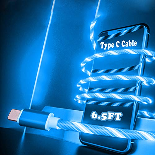 6.5ft Type C Charging Cable LED Flowing Shining Blue Cord Light Up Candy Moving Party Streamer Absorption USB Compatible with iOS Device