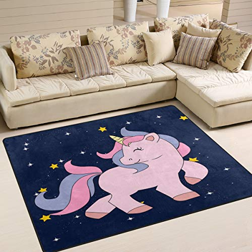 Use7 Alfombra de Unicornio con diseño de Cielo Estrellado para Sala de Estar o Dormitorio, Tela, 160cm x 122cm(5.3 x 4 Feet)