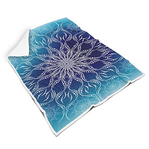 O5KFD & 8 vleermuisdeken Gradation Blauw Mandala thema's gedrukt Premium Universal Robe capuchon - warm past in de winter