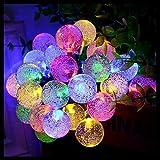 Fantasee - Stringa a energia solare, 30 LED, 8 modalità, per esterni, giardino, cortile, decorazione per feste di Natale, 6,4 m, multicolore
