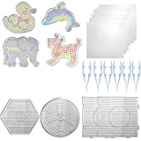 24 Pieces 5mm Fuse Beads Boards,4 Large Clear Plastic Pegboards,4 Animal Bead Pegboard,8 Beads Tweezers and 8 Lroning Paper for Kids Craft Beads