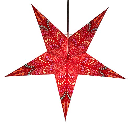 Faltbarer Advents Leucht Stern aus Papier, Weihnachtsstern Sibelius rot / Papierstern 5 Zacken