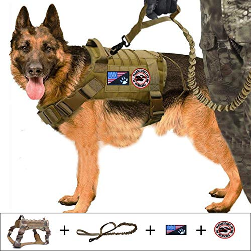 Tactical Dog Harness Service Dog Vest Harnesses Tactical Dog Leashes Frenchie Harness K9 Training Walking Bungee Lead with Double Handle Dog Leash Tactical Patch