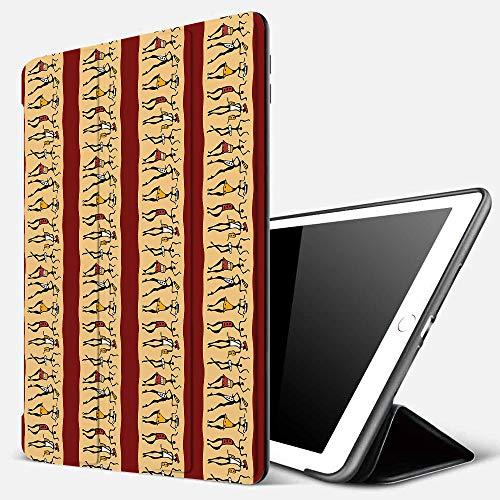 Funda iPad 10.2 Inch 2018/2019,Mujer Africana, pueblos indígenas nativos Diferentes Poses Tribales Antiguas culturas fronteras, rubí melocotón neg,Cubierta Trasera Delgada Smart Auto Wake/Sleep