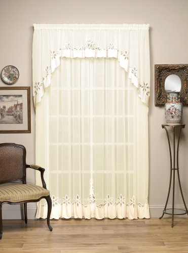Today's Curtain Aujourd 'Hui Rideau Plymouth Ombrelle Classique Applique Sheer Window Panel, 213,4 cm, Écru