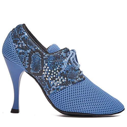 Manuel Reina - Zapatos de Baile Latino Mujer Salsa Desirée Sport Blue - Bailar Bachata, kizomba - Daniel y Desirée (37 EU, Tacón: 9)