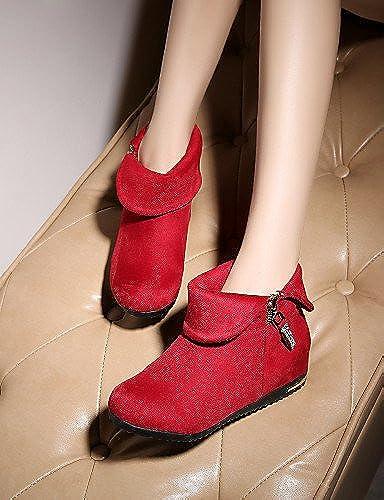 XZZ  Chaussures Femme - Habillé Habillé Habillé   Décontracté - Noir   Rouge   Marine   Bordeaux - Talon Compensé -Compensées   Bout Arrondi   Bottes à la 223