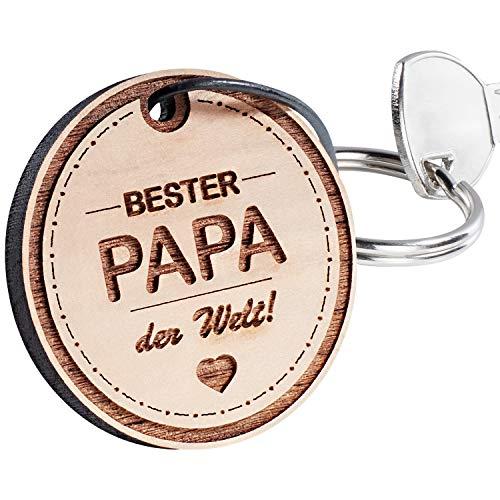 Holz-Schlüsselanhänger mit Gravur Bester Papa der Welt (mit Personalisierung)- echter Holz Anhänger mit Spruch und persönlicher Botschaft - Geschenke mit Name personalisiert