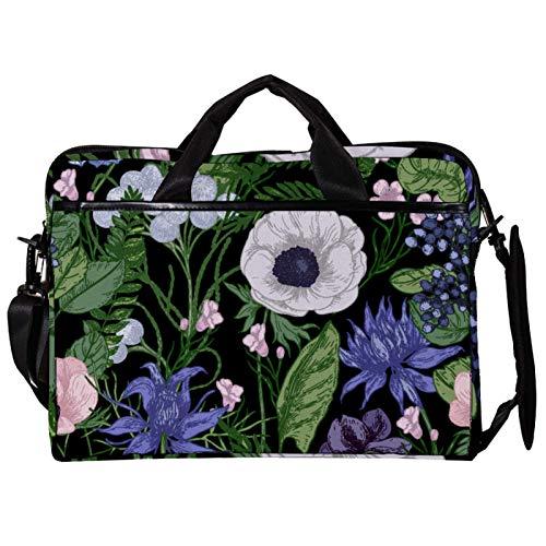 Unisex Computer Tablet Satchel Bag,Lightweight Laptop Bag,Canvas Travel Bag,13.4-14.5Inch with Buckles Spring Floral Leaves Plants