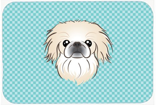 Caroline's Treasures BB1159MP Checkerboard Blue Pekingese Mouse Pad, Hot Pad or Trivet, Large, Multicolor