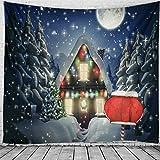 N / A Tapiz de Navidad para Colgar en la Pared, decoración del hogar, decoración del hogar, tapices con Estampado de árbol de Navidad, tapices A5 95X73CM