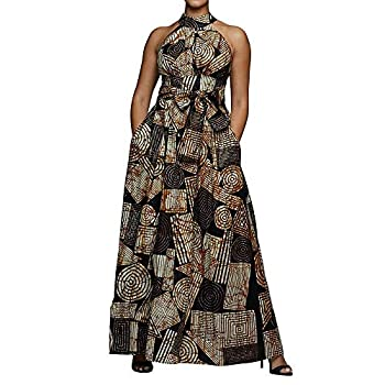 VERWIN Floor Length Lace-Up High Waist Stand Collar Sleeveless Women s Maxi Dress Print Dress Brown L