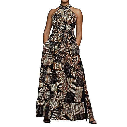 VERWIN Floor Length Lace-Up High Waist Stand Collar Sleeveless Women's Maxi Dress Print Dress Brown XL