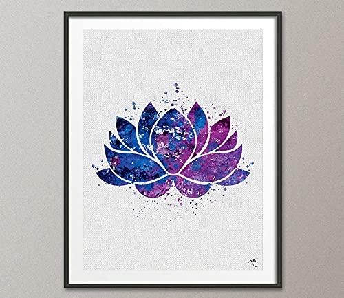 MG global Símbolo de yoga de flor de loto con impresión de acuarela, ilustraciones artísticas, póster de arte de pared Giclée para decoración del hogar, para colgar en la pared [NO 688 sin marco