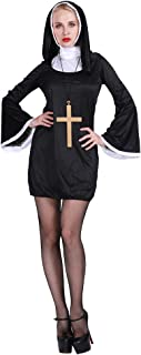 EraSpooky Naughty Nun Costume Ladies Religious Vicars Black Fancy Dress Outfit
