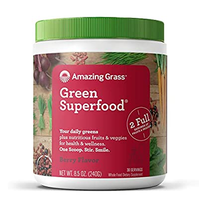 Amazing Grass Green Superfood: Super Greens Powder with Spirulina, Chlorella, Digestive Enzymes & Probiotics, Berry, 30 Servings - 8.5ozBGS from Amazing Grass