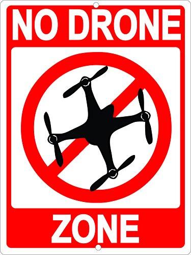 No Drone Zone Sign Aluminum Indoor Outdoor Metal 9x12