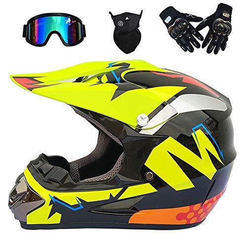 GNB Motocross Helmet Off Road Dirt Bike MX Motorcycle ATV/DOT/ECE Scooter Mountain Motorbike Quad Motocross Enduro Sport Helmet/Gloves/Goggles/Maske (7),bigM,XL