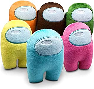 Merch Crewmate Stuffed Plush Plushie Toy Action Figure Statue Game Figures Soft Doll Kids Gift for Among Us Imposters(6pcs)