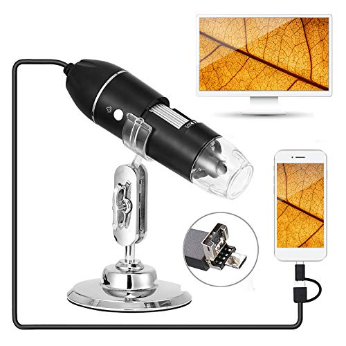 Hayve Digital Microscope 1600X Handheld Mini USB Microscope,1080P Industrial Grade HD Magnification with 8 LED Lights,Support USB2.0 and OTG (MicroUSB&Type-C), Compatible with Windows Linux Andriod