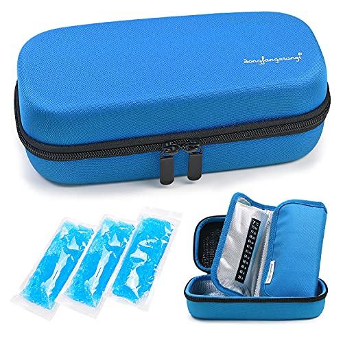 YOUSHARES Borsa Termica per la Penne Insulina, Diabete siringhe, l'insulina, Farmaci e Adrenalina Aghi Con 3 Impacchi di Ghiaccio (EVA Blu)