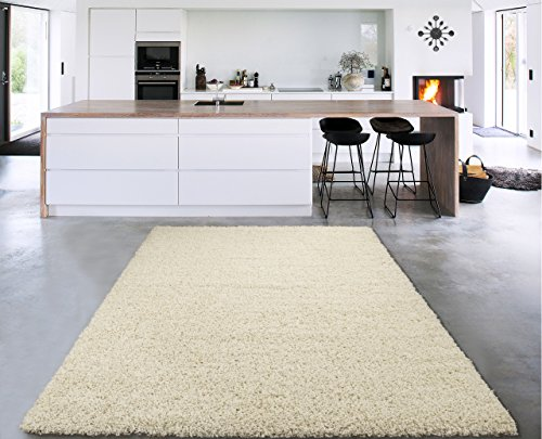 Sweet Home Stores Cozy Shag Collection Cream Solid Shag Rug (6'7