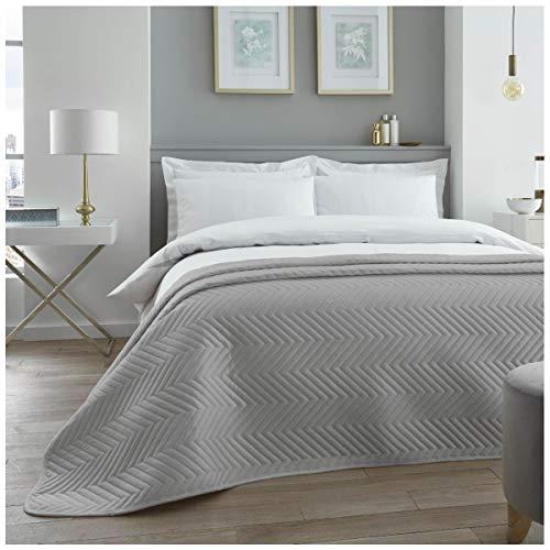 Colcha Acolchada de Terciopelo de Lujo, tamaño Grande para sofá y Cama, diseño de Zigzag chevrón, Color Gris, tamaño Doble (150 x 200 cm)