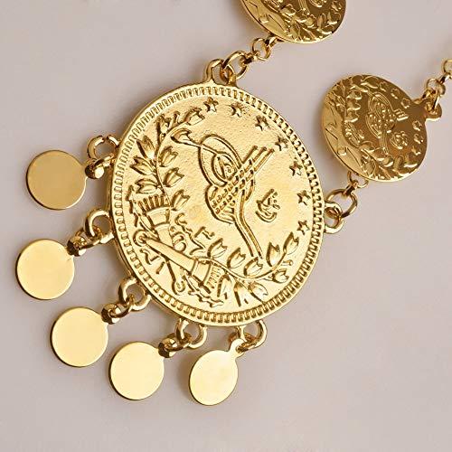 Nobrand 51cm, Cturkish Lira Münzen Halsketten für Frauen/Mädchen Traditionelle Nation Metall Arabischer Schmuck Türkei Irakische Geschenke