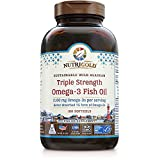 Nutrigold Triple Strength Omega-3 Fish Oil Supplement, Better Absorbed TG Form, Made in USA, 5-Star Certified, ConsumerLab Approved, Certified Sustainable
