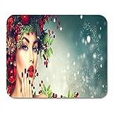 Mousepad,Mouse Pads,Alfombrilla De Ratón,Mouse Pad,Navidad Mujer Maquillaje Invierno Chica Hermosa Año Nuevo Estera Ratones Mousepad para Oficina Inicio Ordenador Portátil Pc