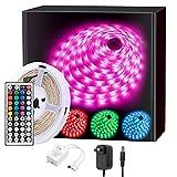LED Strip 5m, RGB LED Streifen, Farbwechsel LED Band mit IR Fernbedienung,Wasserdicht IP65, für Zuhause, TV, Bar, Party und Weihnachtsdekoration