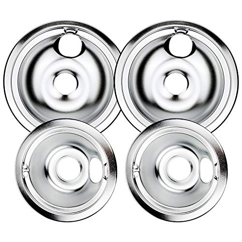 WB31T10010 and WB31T10011 Chrome Burner Drip Bowls Replacement By AMI PARTS Fits GE/Hotpoint/Kenmore Range Cooktop Includes 2 8-Inch and 2 6-Inch Pans