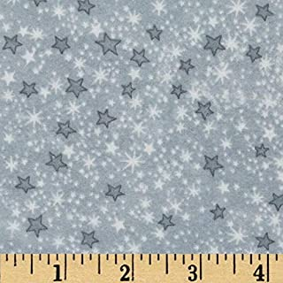A.E. Nathan Comfy Flannel Stars Grey Fabric By The Yard