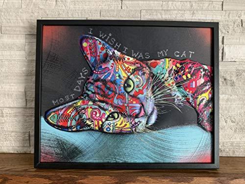 Ilove Home Decor Framed Wall Art - 3D Cat Decor Wall Print - Abstract Wall Art 16'x20'x1.5'