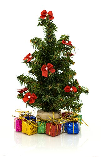 Darice 8-Inch Small Artificial Christmas Pine Tree With Wood Base (8 Inch Tree + Decorations)