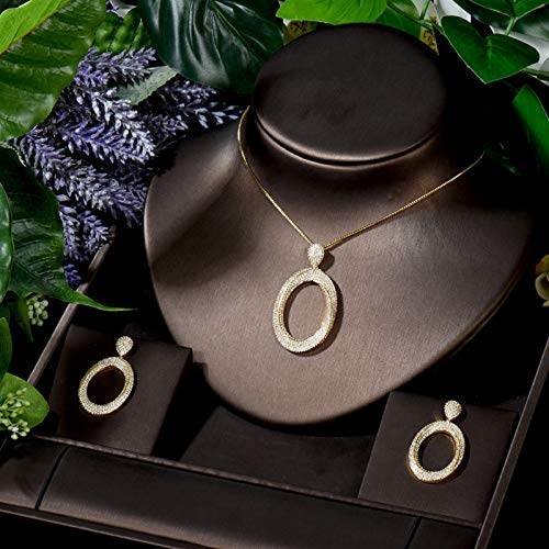 YRCBQJBE Small Women Wedding Jewelry Sets Big Circle Pendant Necklace Earring Sets Bridal Party Jewelry Sets Women's Jewelry (Color : Golden Color)
