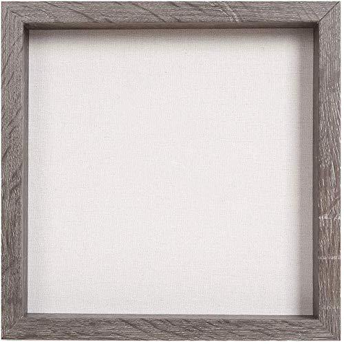 Muzilife 3D Bilderrahmen zum Befüllen 30x30cm Tiefe Box Objektrahmen mit Glasscheibe 1 Stück, Grau Holz
