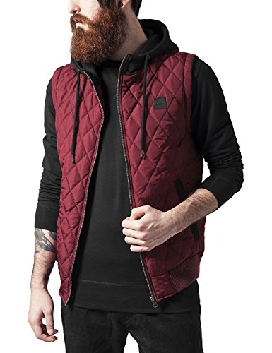 Urban Classics Herren Diamond Quilted Hooded Vest Weste, Mehrfarbig (Burgundy/Black 619), Medium
