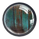 Juego de 4 pomos de 35 mm, estilo rústico, rústico, color verde azulado envejecido, madera de granero, cajón redondo para aparador de muebles con tornillo para cocina, baño, dormitorio