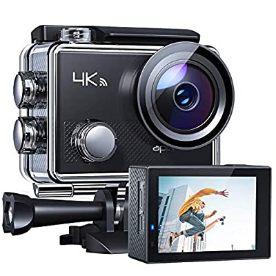 APEMANA77ActionCamera4KWiFiWeb Cam 16MP SportsCam30M WaterproofUnderwaterCamcorder with2.4GRemoteControl and 20AccessoriesKits from APEMAN