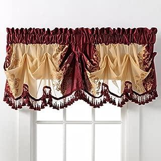 GoodGram Danbury Embroidered Window Treatments Assorted Colors and Sizes (Burgundy, Single Valance)