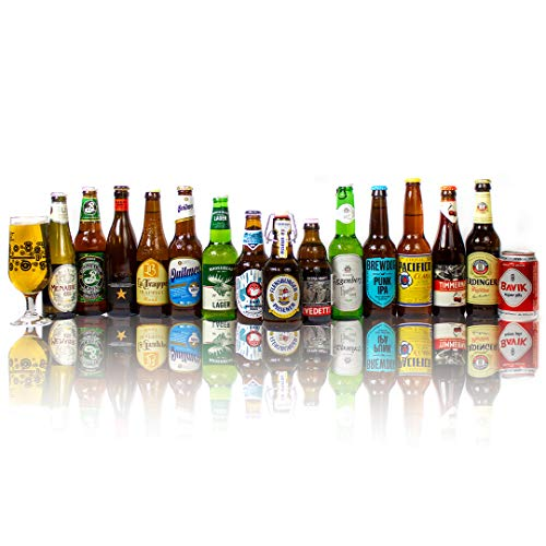 World Craft Beer Case of Mixed Globetrotting Ale, Lager & IPA's Gift Set with Glass (15 Pack) - Perfect for Christmas