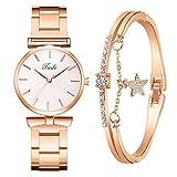 Eaylis Damen Chic Analog Quarz Armbanduhr, mit Edelstahl Armband Lässige Armbanduhr Mit Elegante Armbänder, Mode Business Frauenuhren Damenuhr Geschenk für Frauen Damen