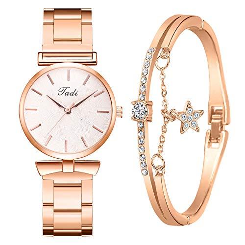 LEORTKS Damen Armbanduhr mit Armreif Armbänder Zweiteiliger Anzug Quartz Uhr Mode Damen Uhren Geschäftsquarzuhr Business Quarzuhr Armband Damenaccessoires Geschenk 1