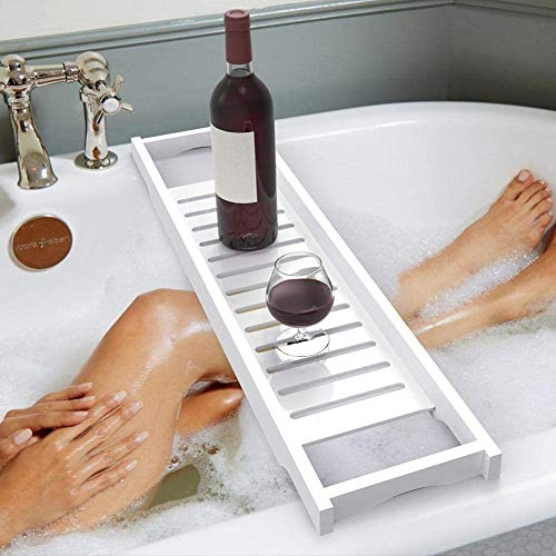 Ejoyous ausziehbare Badewannenablage aus Badewannenbrett Badewannen Ablagen, 70 x 16 cm, Weiß