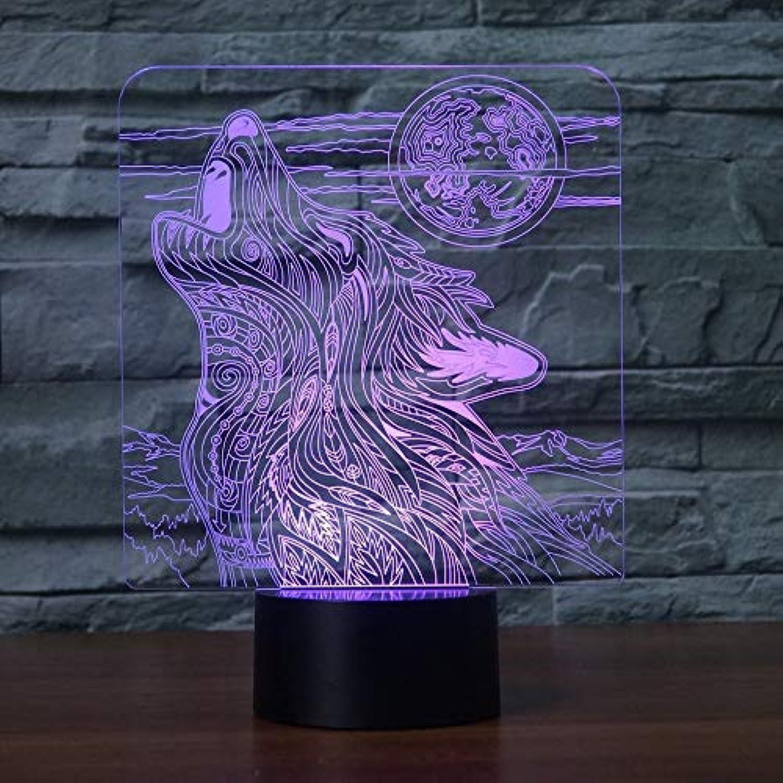 Mozhate 3D Visuelle Nachtlicht Led 7 Farben ndern Schreibtisch Tischlampe Wohnkultur Schlaf Acryl Wolf Howl Künstlerische Leuchte Kinder Geschenke,Remote und berühren