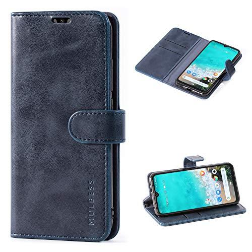 Mulbess Cover per Xiaomi Mi A3, Custodia Pelle con Magnetica per Xiaomi Mi A3 [Vinatge Case], Blu Navy