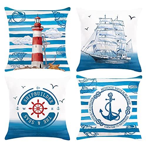 Bonhause Federe per Cuscini Nautica Ancora Faro Barca a vela 45 x 45 cm Blu Copricuscini Decorativi in Velluto Morbido per Divano Letto Auto 4 Pack