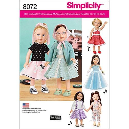Simplicity 8072 Schnittmuster für Puppenkleider, für 45,7 cm große Puppen